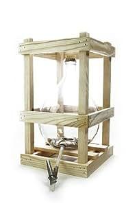Bonbonne en verre 5 L dans un support en bois , avec accessoires