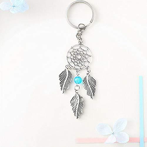 XYAYA Schlüsselbund Leaf Tassel Keychain Naturstein Autoschlüssel Kette Boho Schmuck Schmuckstück Schlüsselring Tasche Charme Frauen Schlüssel Zubehör, Blau