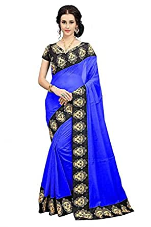 Indian Beauty Cotton Saree With Blouse Piece (IB-1116_Blue_Free Size)