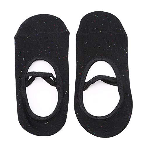 NYAOLE Yoga Socken für Frauen Rutschfeste Socken Baumwolle Rückenfrei Rundkopf Tanzen Socken für Fitness/Dance / Pilates/Ballettsocken, Schwarz