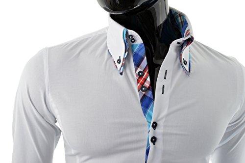 D&R Fashion Chemise élégante avec col classique slim Italian Design diverses couleurs Blanc