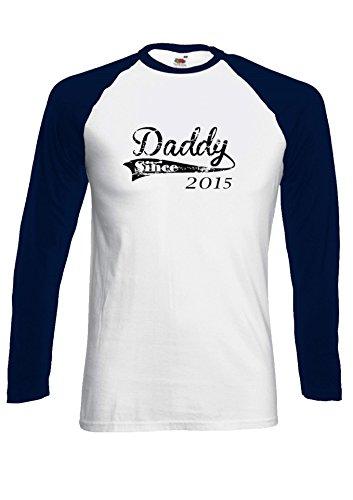 Daddy Since 2015 Dad Father`s Day New Born Novelty Black/White Men Women Damen Herren Langarm Unisex Baseball T Shirt Verschiedene Farben *Navy Blau