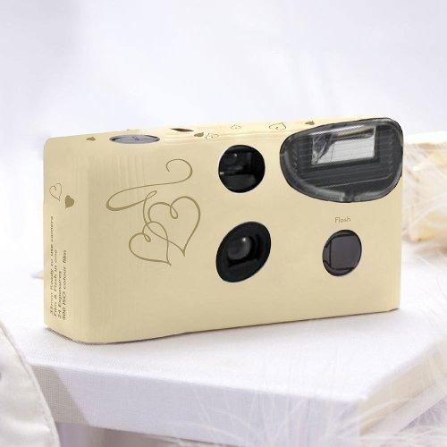 Einwegkameras / Einwegfotos in Creme mit goldenen Herzen - Inhalt pro Packung: 10 Stück Hochzeitskameras