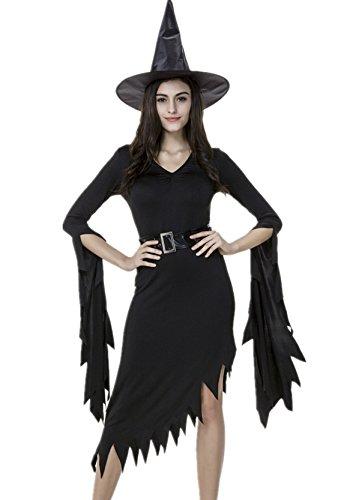 Beunique® Damen Kostüm Helloween Karneval Fasching Hexe Hexenkleid & Hut (Frau Ultra Kostüm)