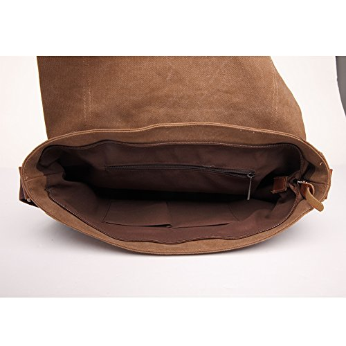 JTY Herren Umhaengetasche Handtasche Retro Canvas Tasche Freizeit Schultertasche Messenger Bag 36*27*10cm Gruen