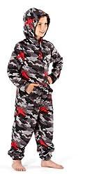 Jungen Tarnfarben Warm Fleece Onesie Pyjama Nachtwäsche Hausanzug 1973 - Grau, Jungen, 146-152