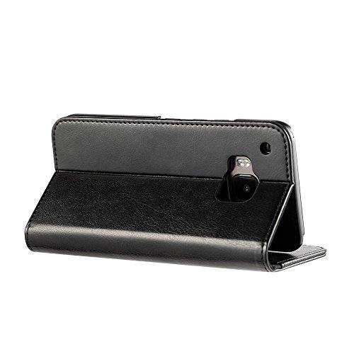 EasyAcc HTC One M9 HTC One S9 Hülle Tasche Wallet Case Schutzhülle Handyhülle mit standfunktion Card Holder Schwarz Kunstleder