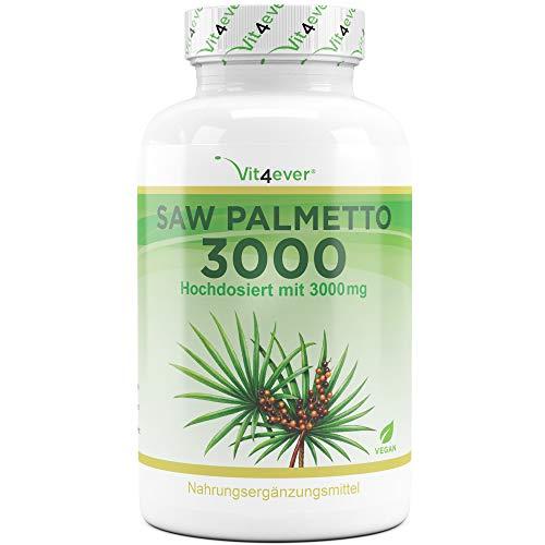 Vit4ever® Saw Palmetto 3000-300 Kapseln - Hochdosiert mit 3000 mg Sägepalmepulver - 100 Tage Anwendung - Sägepalme Fruchtextrakt 20:1 - Vegan