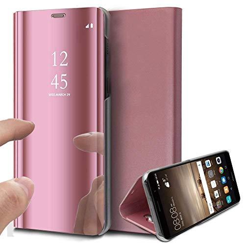 Chrom Spiegel Stehen (Caler Hülle Kompatibel Samsung Galaxy S10E Hülle Spiegel Cover Clear View Crystal Case Schutzhülle Mirror handyhülle handyhuelle etui huelle Flip metallic Frau schal mit Tasche Ledertasche)