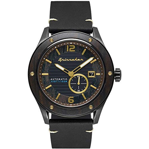 SPINNAKER Men's Sorrento 43mm Black Leather Band IP Steel Case Automatic Analog Watch SP-5067-03