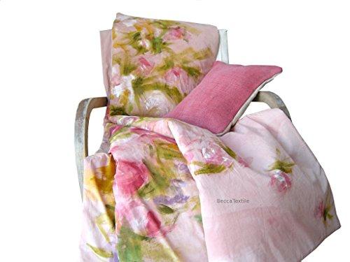 Garten Bettbezug (Einzigartiges decke mit exklusivem Design. Rosa Bettdecke mit handbemalten Blumen, da ist nur einer, exklusiv auf Linie, BeccaTextile.)