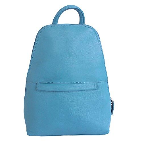 Jenes & Jandura Damen Rucksack Umhängetasche Schulrucksäcke Leder Reise Daypacks Tasche Schulranzen (Blau) Blau