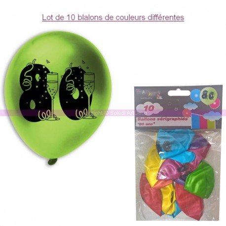 Lot de 10 Ballons de baudruche sérigraphiés 80 ans, Diam. 28 cm , pour déco anniversaire