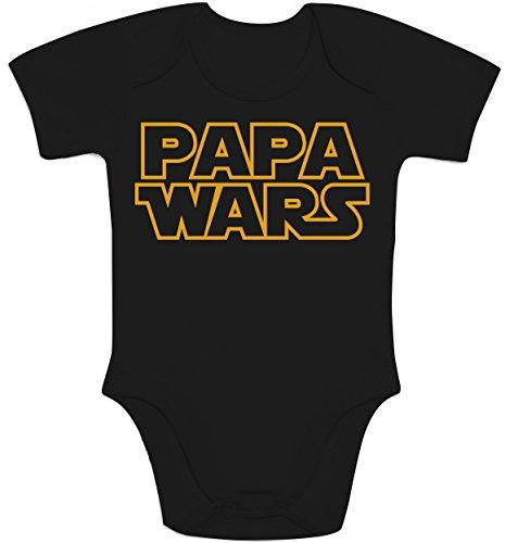 Witziges Baby Geschenk für Star Fans - PAPA WARS Baby Body Kurzarm-Body Newborn Schwarz