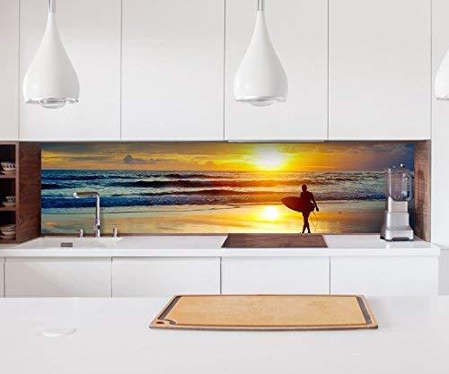 Aufkleber Küchenrückwand Meer Surfer Surfen Sonnenuntergang Folie selbstklebend Dekofolie Fliesen Möbelfolie Spritzschutz 22A753, Höhe x Länge:70cm x 300cm