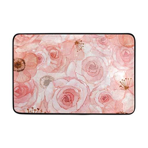 beautiful& 59,9 x 39,9 cm Rutschfeste Polyester Fußmatte rosa Blumen Hintergrund Waschbarer Eingang Teppich für Innen Außen Boden WC Terrasse Wohnzimmer (Colts-fußmatten)