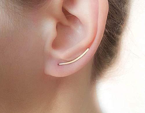 flacher Ohrklemme Ohrringkletterer geschwungene Bar Ohrringe Ohrschmuck Gold