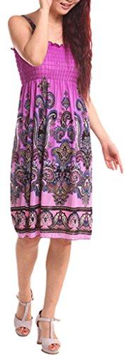 La Vogue 20Motifs Style Bohême Robe Imprimé Eté Femme Sans Manches Soie Artificiel Plage Vacances Beachwear Bohême violet