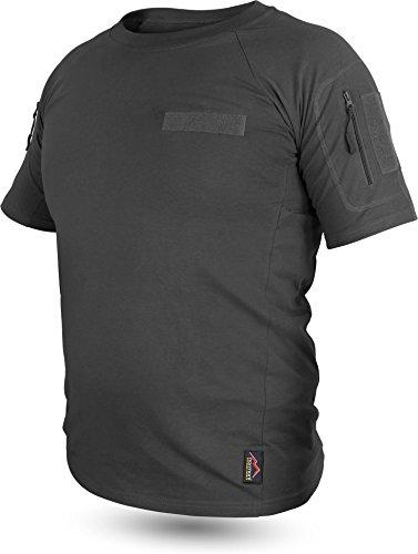 normani Tactical BDU Kampfshirt T-Shirt mit Klettpatches, Armtaschen & versteckten Seitentaschen Farbe Schwarz Größe 6/M - Militär T-shirt