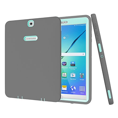 Galaxy Tab S29,7Case, beimu 3in 1Stoßfest Heavy Duty Rugged Hybrid Armor Defender Schutz Cover für Samsung Galaxy Tab S224,6cm sm-t810/T815/t813N/t819N Grey+Aqua (Klare Halloween Körper-taschen)