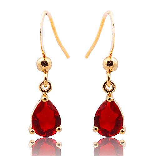 Neu ModeSchmuck Damen Geschenk Zirkonia Red Rubin Pear Cut Ohrringe