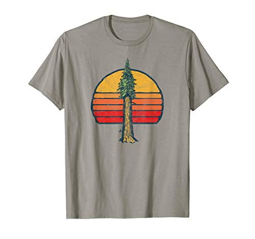 Retro Sun Minimalist Sequoia California Tree Vintage T-Shirt - Tree Hugger Gelben T-shirt