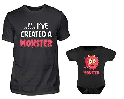 Vater Baby Partnerlook Lustiger Monster Spruch Tshirt Baby Body Strampler Outfit Set Rundhals Papa Sohn Tochter Partner Look Für Herren Jungs Und Mädchen (M & 6-12 Monate)