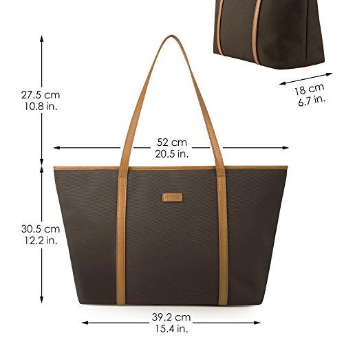 CHICECO Nylon Groß Reise Shopper Tasche Handtasche Damen - Schwarz Kaffee