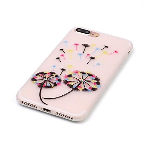 XiaoXiMi iPhone 7 TPU Hülle Luminous Silikon Schutzhülle mit Bunte Muster für iPhone 7 Soft Slim Gel Rubber Case Cover Leichte Glatte Schale Ultra Dünne Schlanke Tasche Flexibel Weiche Hülle Anti-Ruts Bunte Löwenzahn
