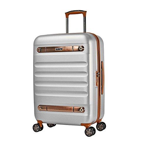 Eminent Gold Koffer Nostalgia 66 cm 73 L Hartschale aus aus Polycarbonat 4 Leise Doppelrollen TSA Schloss Silber