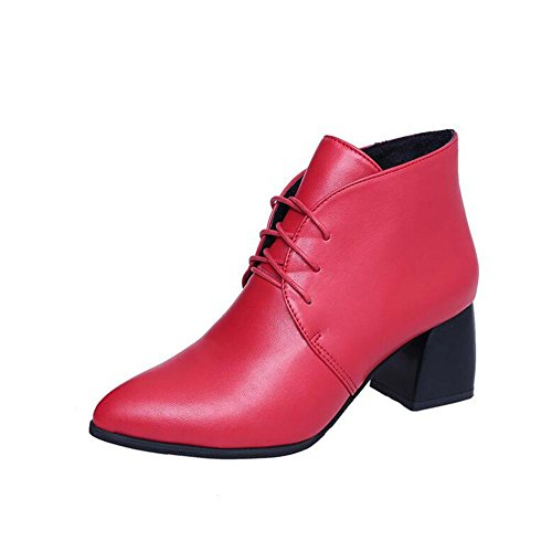 L@YC Femmes Talons hauts Pointy Lace Short Boots Bold Fashion Joker Chaussures / Noir / Rouge red