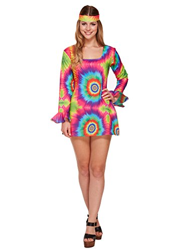 Damen Fancy Kleid Tie Dye Hippie-Girl Kostüm One Size (Childrens Fancy Kleider Kostüme)