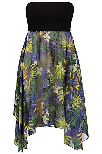Ulla Popken Damen große Größen bis 62+ | 2-in-1-Kleid | breiter Elastikbund | Chiffonrock mit Muster | Zipfelsaum | Multicolor 54/56 714848 90-54+