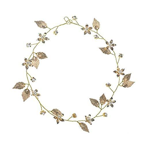 EORTA 3 Stück Blattgold Haarband, Boho Stil, Vintage, Barock, Hochzeit Braut Mädchen Krone Haarschmuck, Schöne Prinzessin Perle Blattgold Kopfschmuck (Gold)
