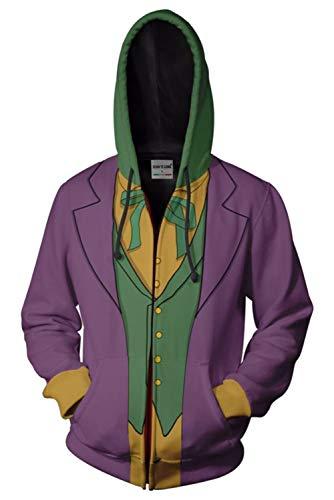 MingoTor Herren Coat Batman: Arkham Asylum Clown Kapuzenpullover Reißverschluss Mantel Hoodie mit Kapuze Kapuzenjacke Hooded Pulli Sweatshirt Lange Ärmel Unisex (Erwachsene Batman Hoodie Kostüme)