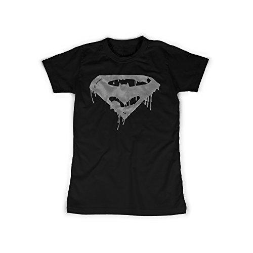 t mit Aufdruck in Schwarz Gr. XXXL Superhelden Logo Design Girl Top Mädchen Shirt Damen Basic 100% Baumwolle Kurzarm (Joker Kostüme Für Mädchen)