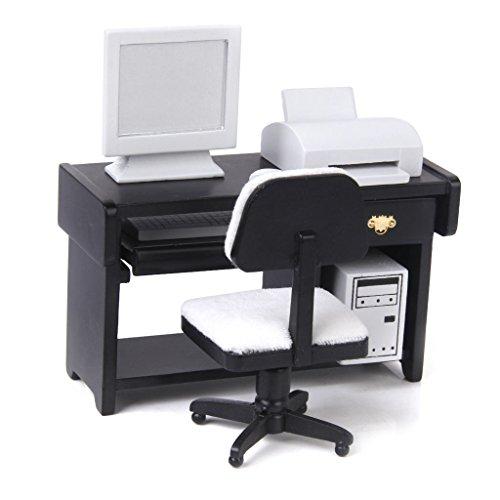 Preisvergleich Produktbild Puppenhaus Miniatur Moebel Computerschreibtischstuhl Drucker Festgelegt 1/12