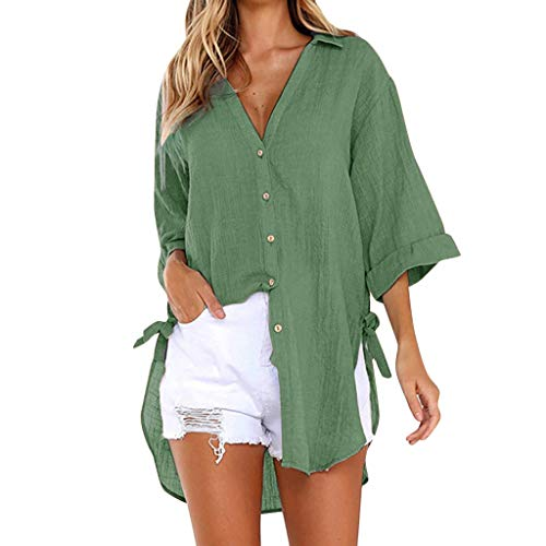 TEFIIR T-Shirt für Damen, Loose Button Long Shirt Kleid Baumwolle Damen Casual T-Shirt Bluse -