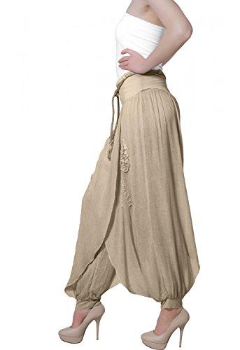CASPAR KHS002 Pantalon harem sarouel pour femme Kaki