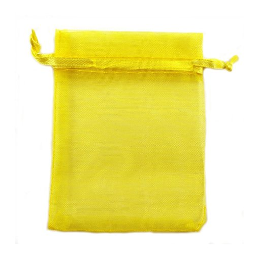 100 x Jaune satin cordon Organza des sacs-cadeaux aumonière de bijouterie, sacs de mariage - 9 x 12 cm