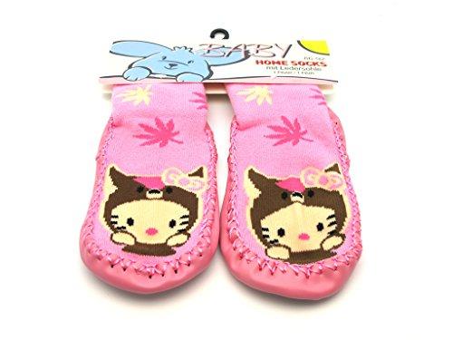 Baby und Kinder Home Socks - Krabbelsocken, Hüttensocken, Hausschuhe - mit rutschfester Ledersohle - Hello Kitty/Rosa - Gr. 62-68