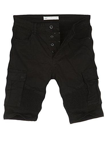 L.A.B 1928 Cargo Shorts Herren Cargoshorts Kurze Hose Bermuda Sommer Joggjeans Jeans Schwarz 8367 W34 (50)