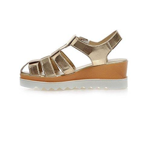 VogueZone009 Donna Fibbia Punta Aperta Tacco Medio Heeled-Sandals Oro
