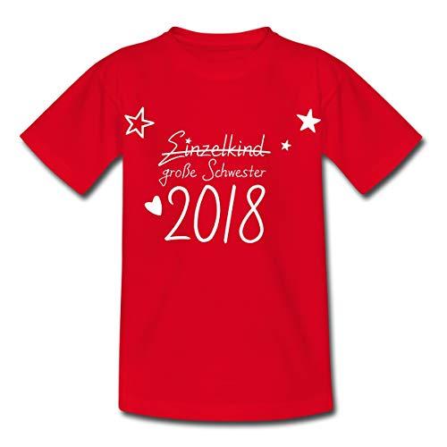 Spreadshirt Große Schwester 2018 Statt Einzelkind Kinder T-Shirt, 122/128 (7-8 Jahre), Rot