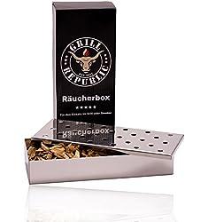 Grill Republic Räucherbox für Smoker, Kugel und Gas-Grill | BBQ Smokerbox für tolles Raucharoma aus rostfreiem Edelstahl | 23x9,5x4,2 cm