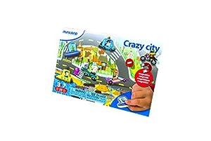 Miniland- On The Go: Crazy City Juego magnético de temática Stem, 21,5 x 44 cm de tabolero (31962)