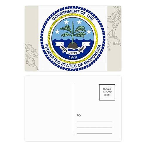DIYthinker Mikronesien National Emblem Blumen Postkartenset dankt Karte Mailing Side 20pcs 5.7 Zoll x 3.8 Zoll Mehrfarbig (Karte Von Mikronesien)