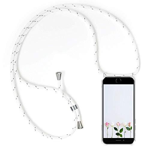 Alsoar Hülle ersatz für iPhone 6S Plus Handyhülle mit Kordel zum Umhängen Transparent Slim Stoßfest Silikon Schutzhülle für iPhone 6 Plus Dünn Vier Eckenschutz Case (Weiß grau) - Iphone Ersatz-bildschirm-pink 6