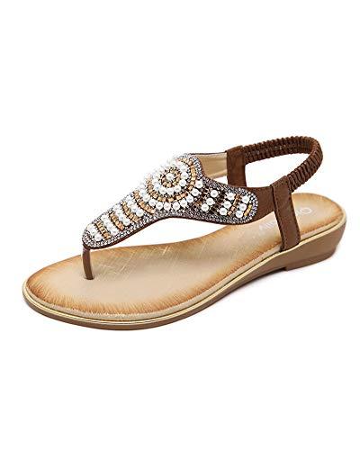 Sandali pu cuoio bassi sandali elegante perla boemia perline decorate, t-strap scarpe da spiaggia donna da estate marrone eu 38