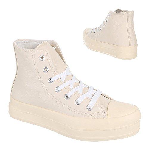 Damen Schuhe, IR-376, FREIZEITSCHUHE SCHNÜRER SNEAKERS Beige
